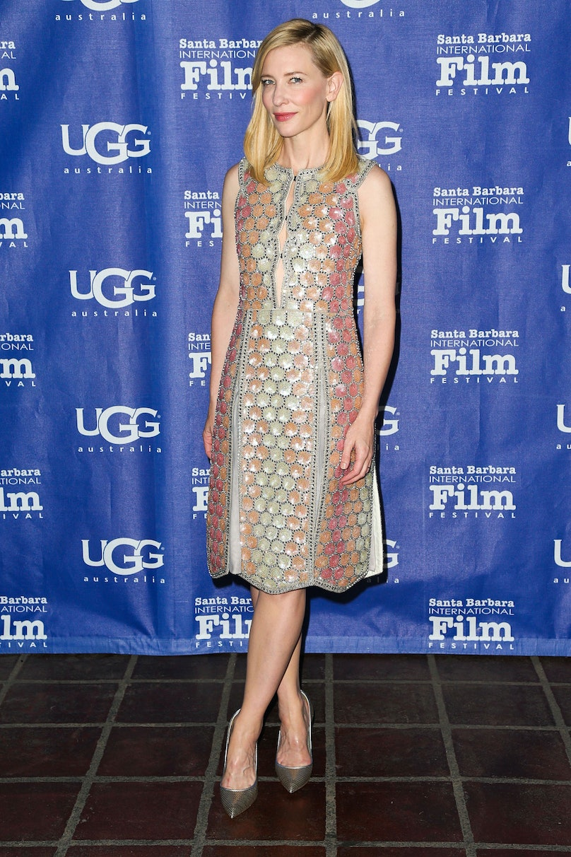 """The *Blue Jasmine* actress added two more awards to her vast collection at the Santa Barbara International Film Festival—one for """"Outstanding Performer of the Year Award"""" and one for Best Dressed. Thank you, Maison Martin Margiela.      Photo by Getty Images"""