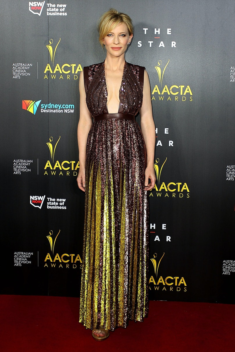 Ever the style chameleon, Blanchett opted for a shimmering [Givenchy](http://www.wmagazine.com/fashion/2014/01/best-of-the-spring-field-day/photos/slide/13) dress at the AACTA Awards in Sydney. With a messy ponytail and edgy jewels, the star shined in more ways than one.