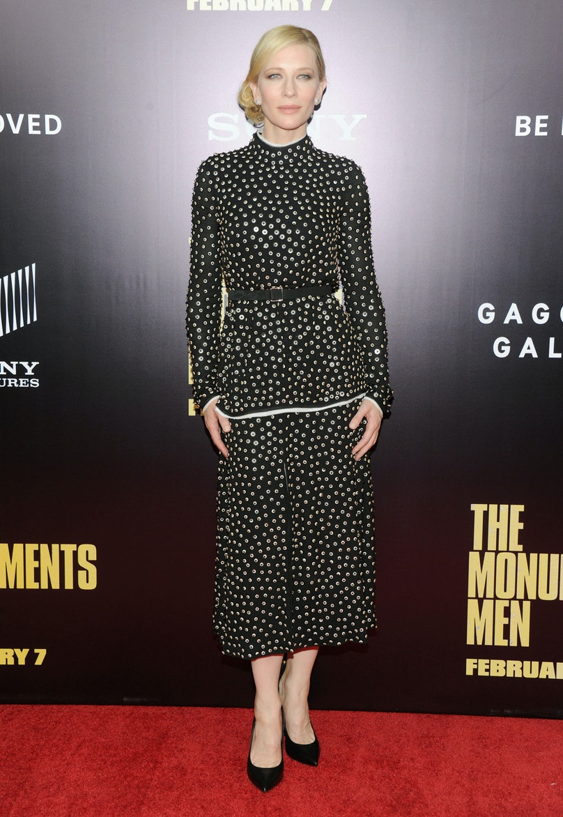 Blanchett stunned in a black [Proenza Schouler](http://www.wmagazine.com/mood-board/filter?q=^Designer|Proenza%20Schouler|) dress at the New York premiere of [*The Monuments Men*](http://www.wmagazine.com/people/celebrities/2013/11/george-clooney-interview/). Her sleek side bun and Chopard jewels amped up the glam factor of the sparkling, but covered-up, choice.      Photo by Getty Images