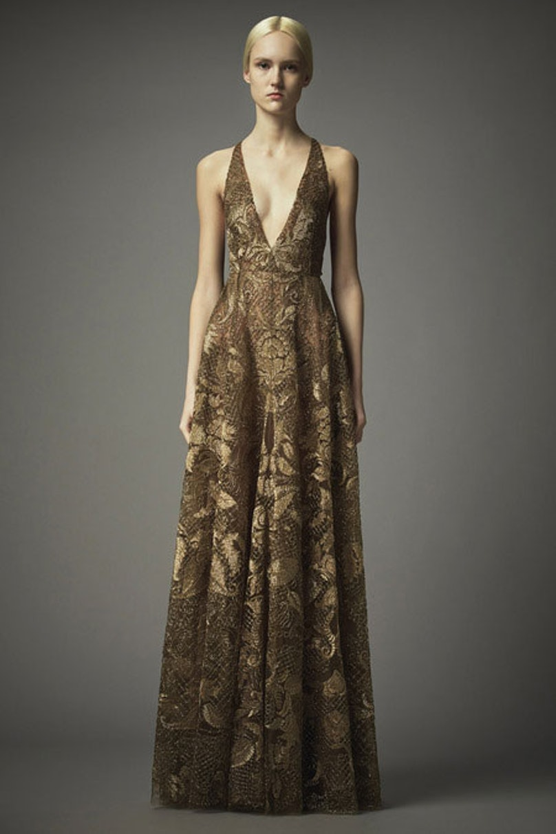 __[Valentino](http://www.wmagazine.com/mood-board/filter?q=^Designer Valentino ):__ The brand has become known for long-sleeved, Renaissance-inspired gowns; I like the bareness of this dress in gold [lace](http://www.wmagazine.com/mood-board/filter?q=^Trend Lace ).      Photo courtesy of the designer.