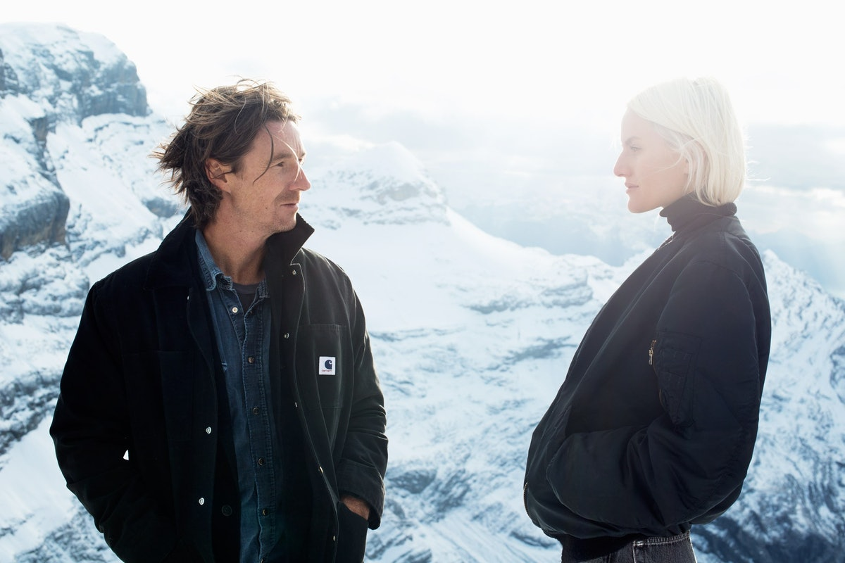 Neville Wakefield and Olympia Scarry, photographed on Glacier 3000 in Gstaad.