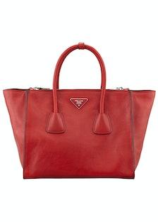 Prada tote bag, $2400, [neimanmarcus.com](http://www.neimanmarcus.com/Prada-Glace-Calf-Twin-Pocket-T...