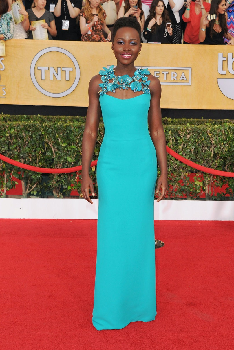 Though nothing could diminish our love for Nyong'o, her outfit of choice for the SAG Awards—a turquoise [Gucci](http://www.wmagazine.com/mood-board/filter?q=%5EDesigner%7CGucci%7C) dress and matching makeup—was a little too blue for our tastes.      Photo by Getty Images