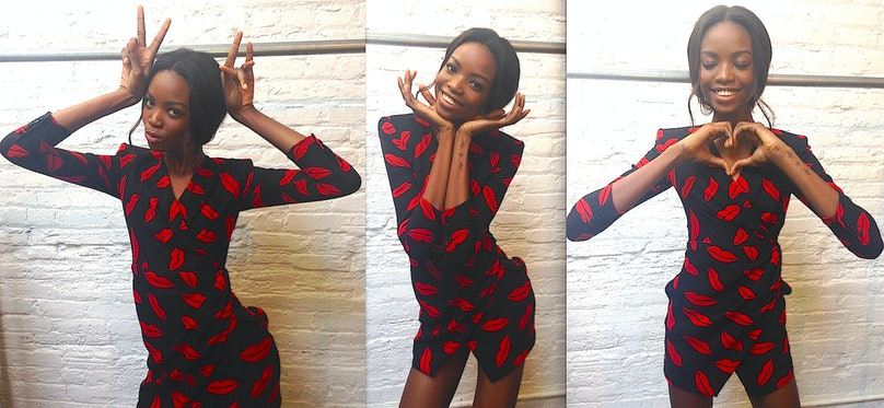"""""""How cute is this model, Maria Borges? We were taking a break from a shoot, and I had her throw on this Saint Laurent dress covered in red lips. Suddenly, she started making all these playful expressions. I think she looks like a cross between a doll and a Pop art painting."""""""