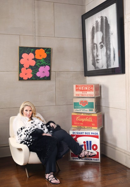 Jane Holzer at home, surrounded by some of her favorite Warhol pieces.