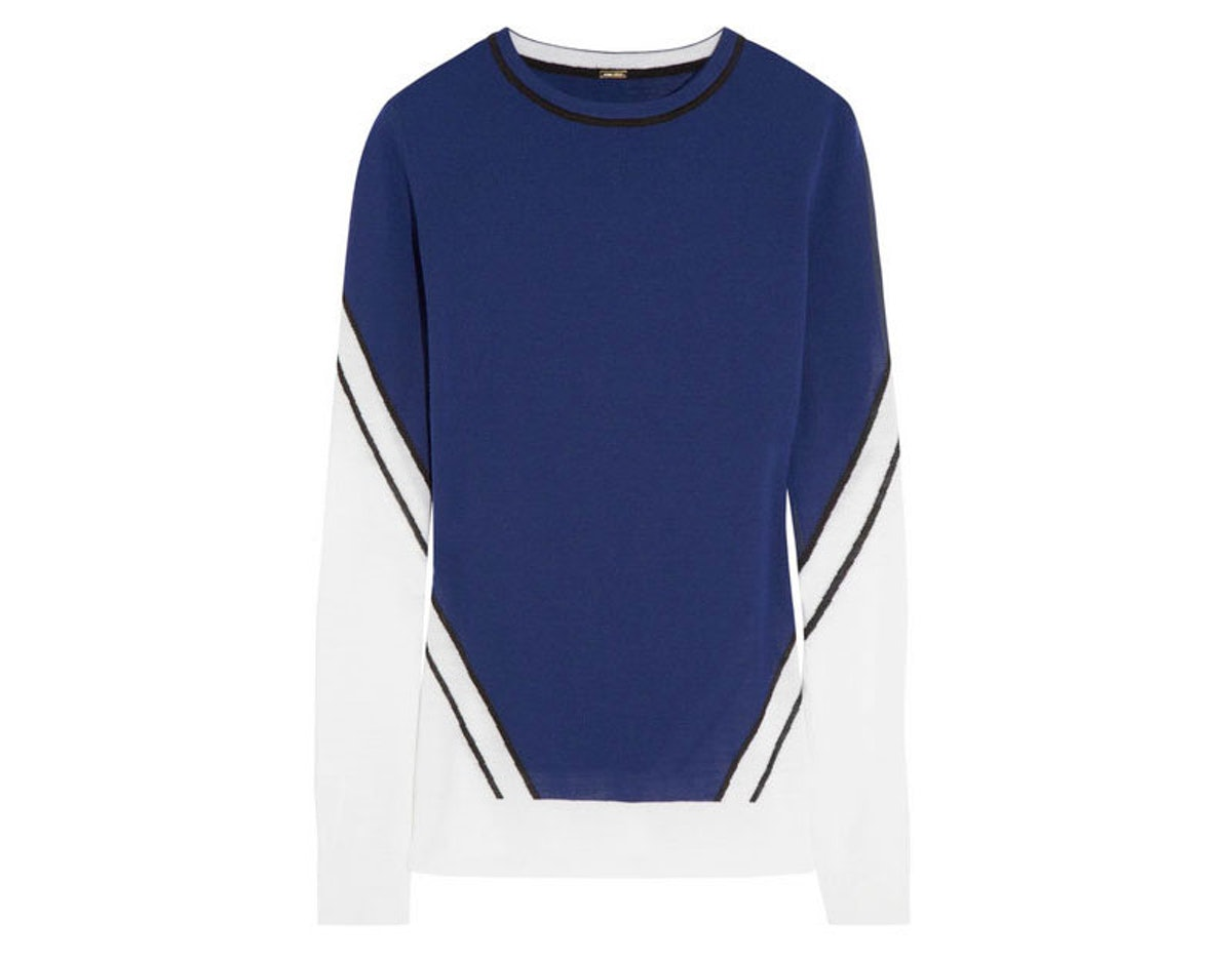 These colors are perfect for Seahawks fans to wear this weekend, and they will also score big time during Fashion Week.       *Adam Lippes Intarsia merino wool sweater, $550, [net-a-porter.com](http://www.net-a-porter.com/product/401877).*