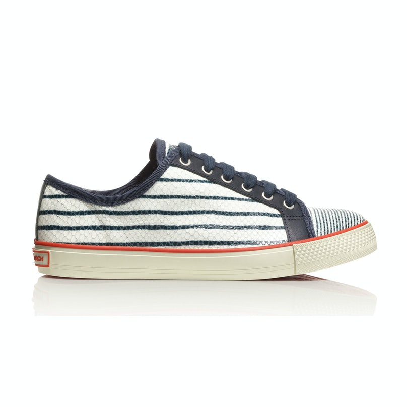 Tory Burch millie sneaker, $195, [toryburch.com](http://www.toryburch.com/millie-sneaker/51138430.html?dwvar_51138430_color=980&start=1&cgid=shoes-sneakers).