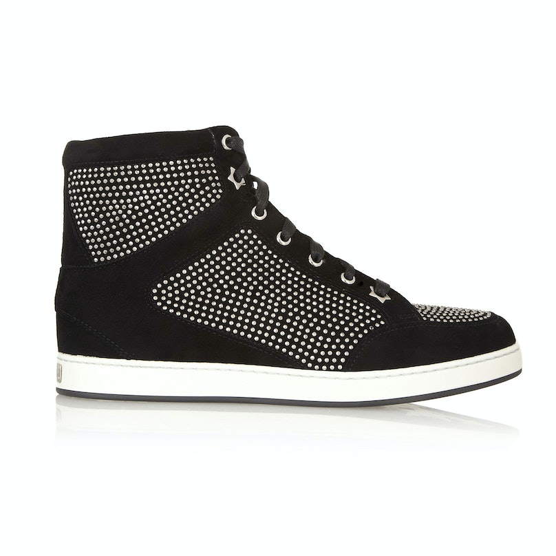 Jimmy Choo Tokyo studded suede high-top sneakers, $1095, [netaporter.com](http://www.net-a-porter.com/product/401460).