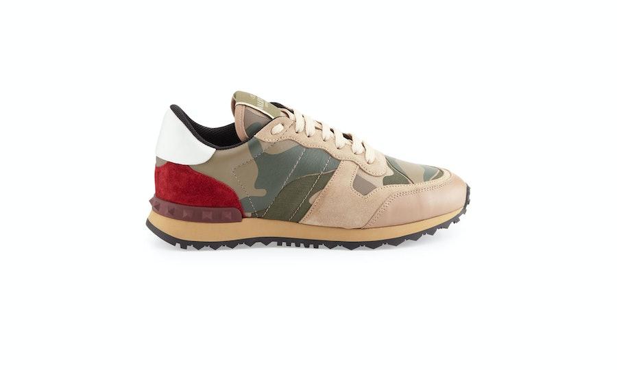 Valentino rockstud camo-print sneaker, $795, [neimanmarcus.com](http://www.neimanmarcus.com/Valentino-Rockstud-Camo-Print-Sneaker-Taupe-Shoes/prod165930127_cat15450749__/p.prod?icid=&searchType=EndecaDrivenCat&rte=%2Fcategory.jsp%3FitemId%3Dcat15450749%26pageSize%3D30%26No%3D0%26refinements%3D&eItemId=prod165930127&cmCat=product).