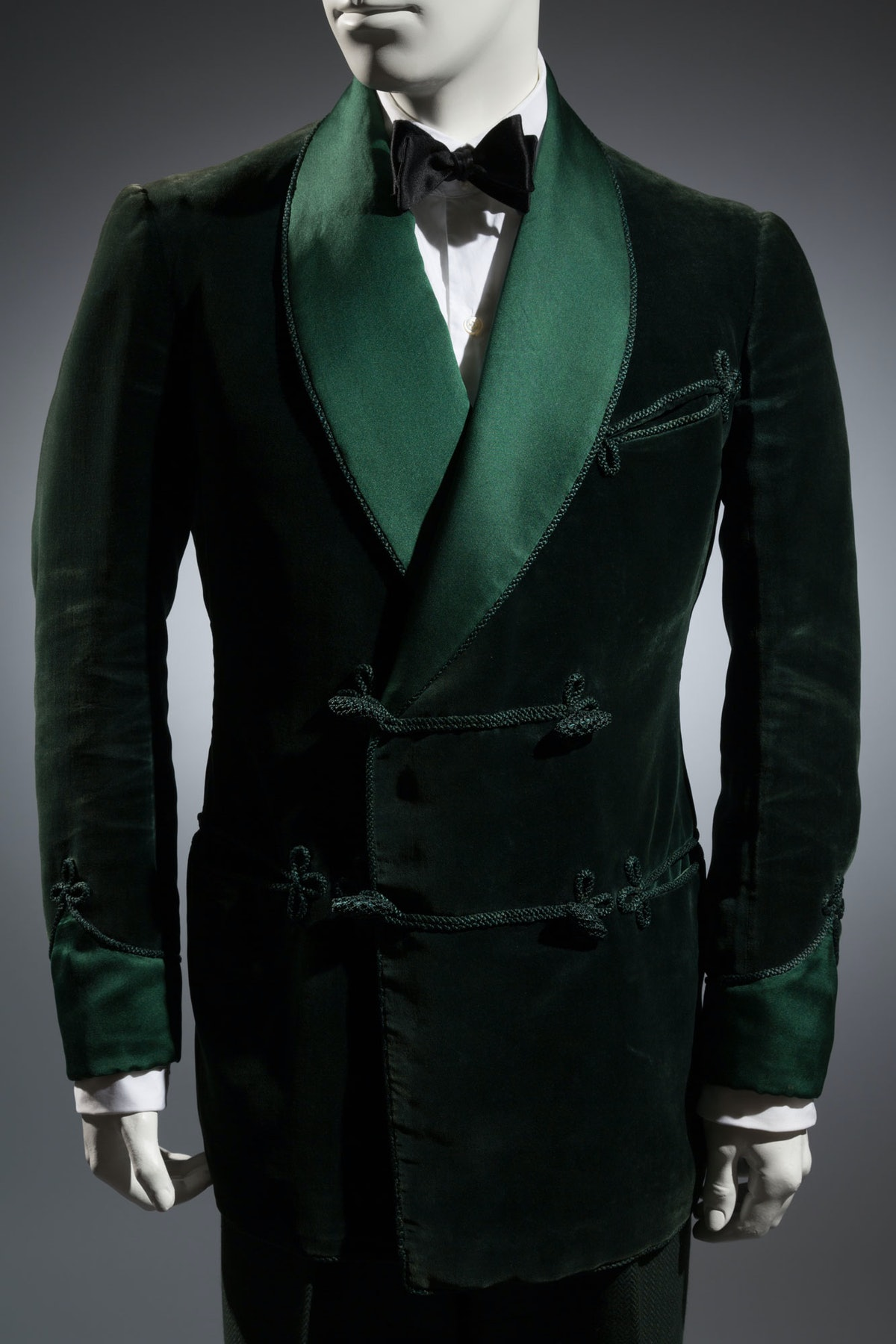 """Gardner and Wooley green smoking jacket    """"The smoking jacket is a holdover from Edwardian times, w..."""