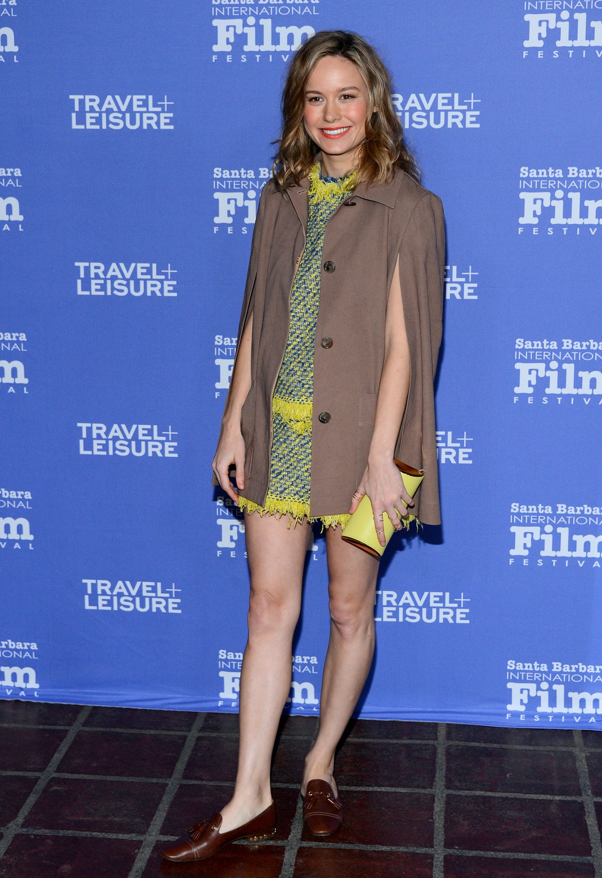 Larson overturned yet another red carpet rule by wearing a pair of flat loafers to the Santa Barbara International Film Festival. Though her look was more casual, her neon tweed dress and camel cape, both by [Louis Vuitton](http://www.wmagazine.com/mood-board/filter?q=^Designer|Louis%20Vuitton|), were a winning combination.      Photo by Getty Images