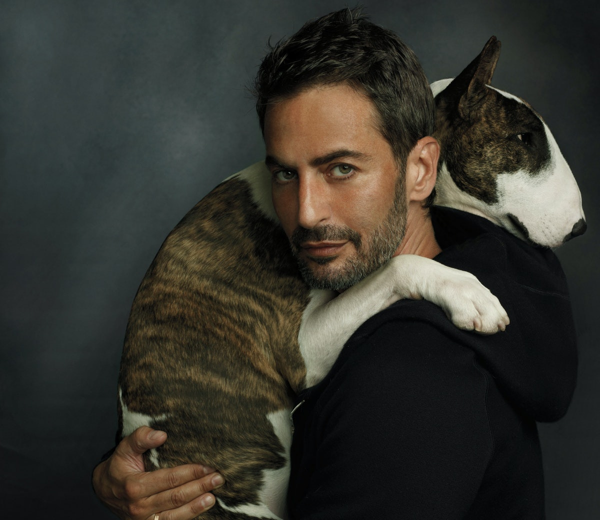 Marc Jacobs with his dog Neville, in New York.