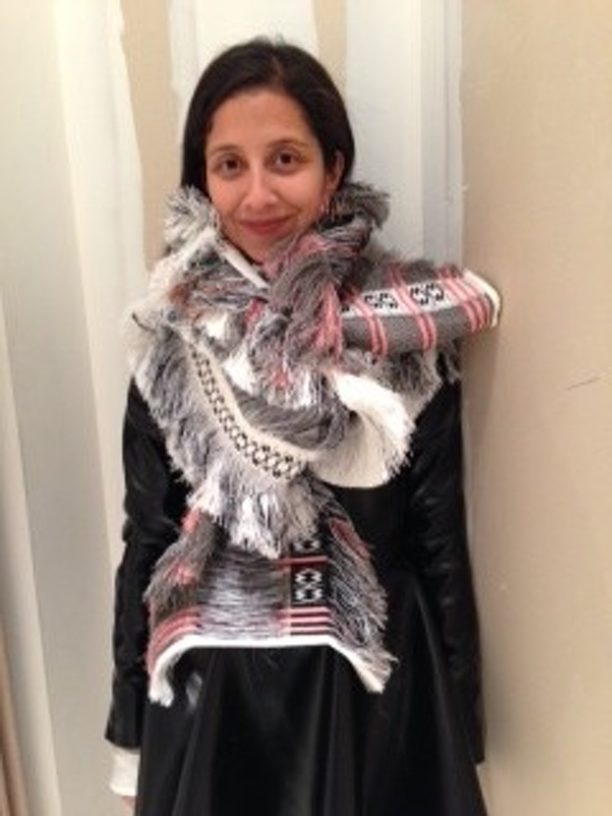KARLA WEARING CELINE SCARF $1,450 AVAILABLE AT BARNEYS