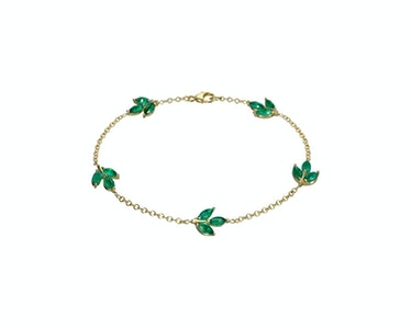 Finn emerald five-leaf bracelet