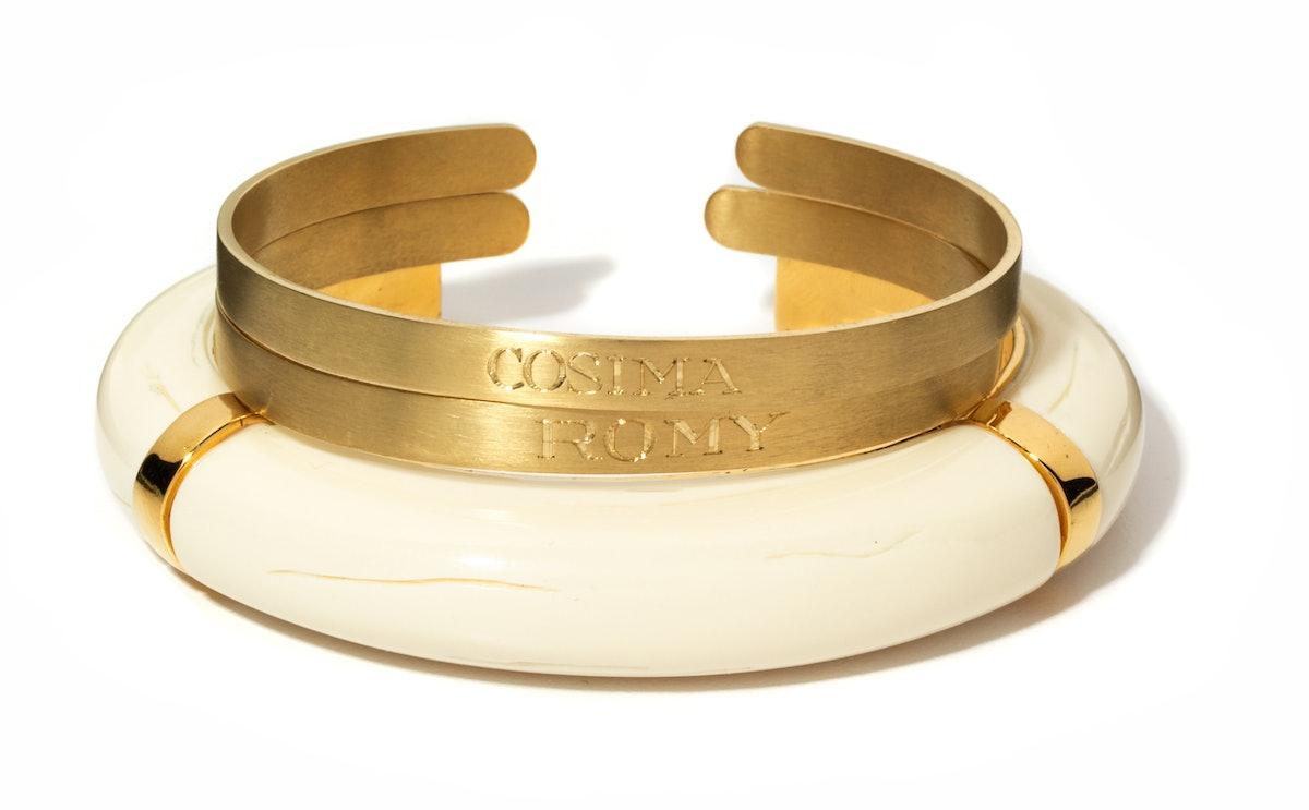 Aurélie Bidermann gold engraved bangles