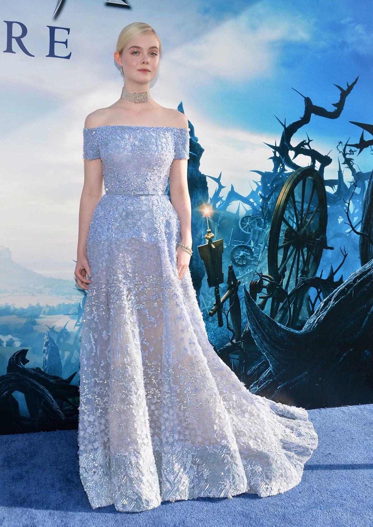 Maleficent star Elle Fanning in Elie Saab