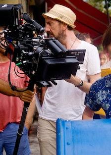 Keira Knightley on the set of Begin Again