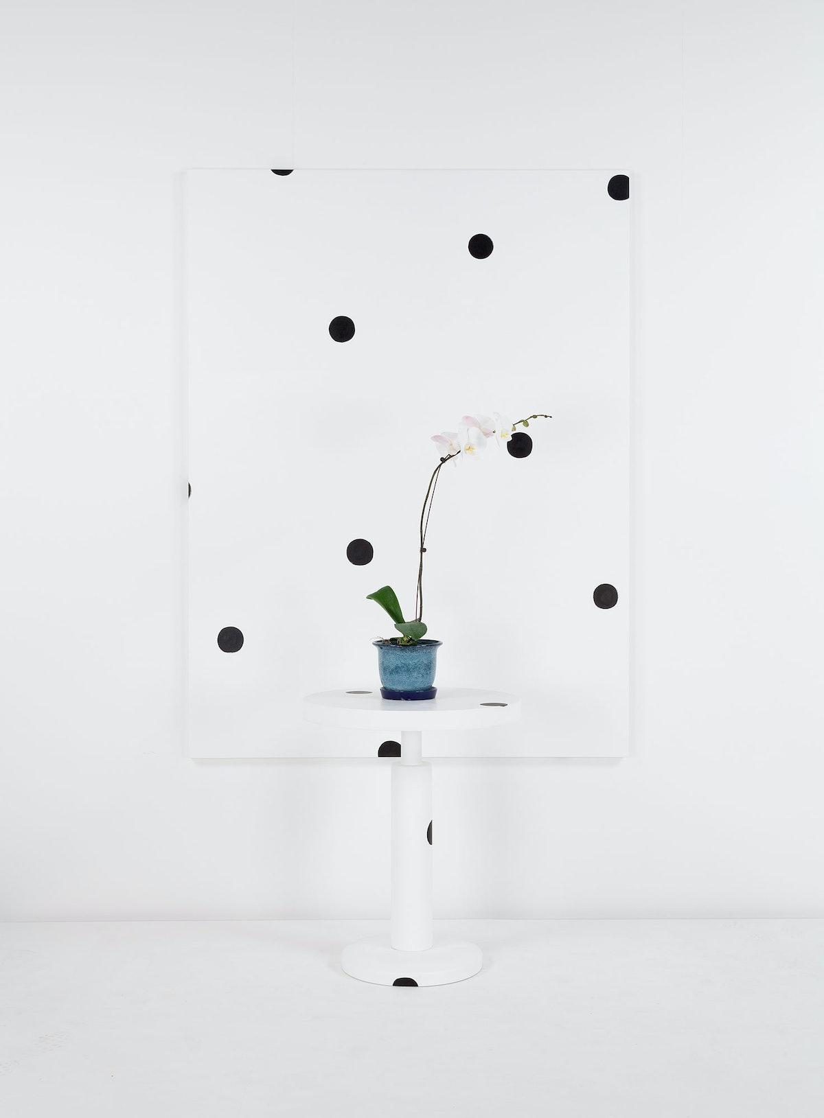 (Shiro Kuramata Kyoto Round Table) + Dot Painting + Orchard, 2014 by Margaret Lee