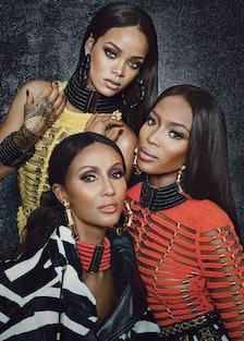 Balmain Rihanna, Iman, Naomi Campbell