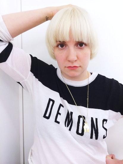 Lena Dunham's new platinum blonde bowl cut