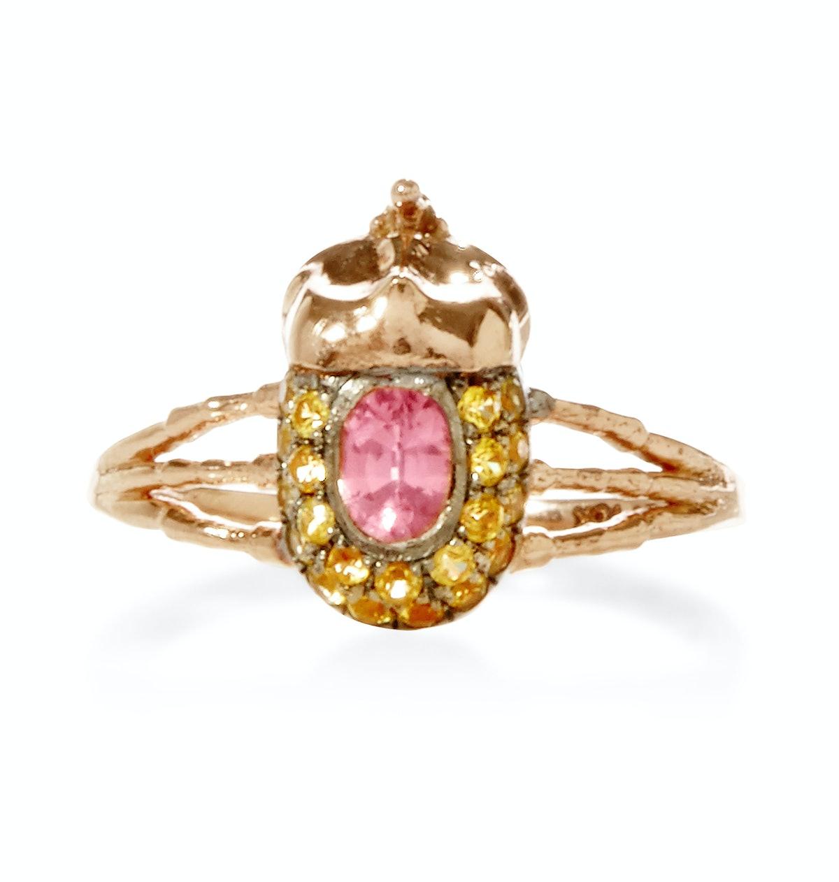 Daniela Villegas 18k pink gold and sapphire ring