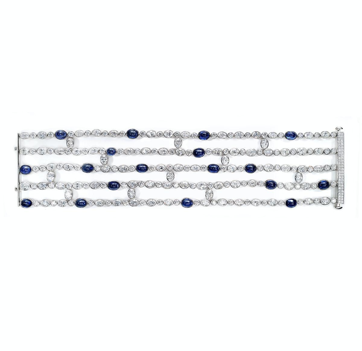 Leviev platinum, sapphire, and diamond bracelet