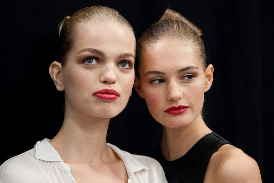 Backstage at Carolina Herrera Spring 2015