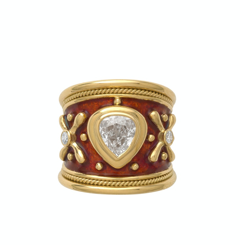 Elizabeth Gage gold, enamel, and diamond ring