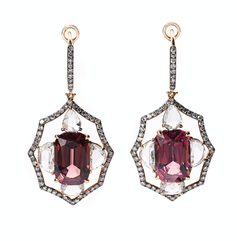 Ivy New York gold, spinel, and diamond earrings