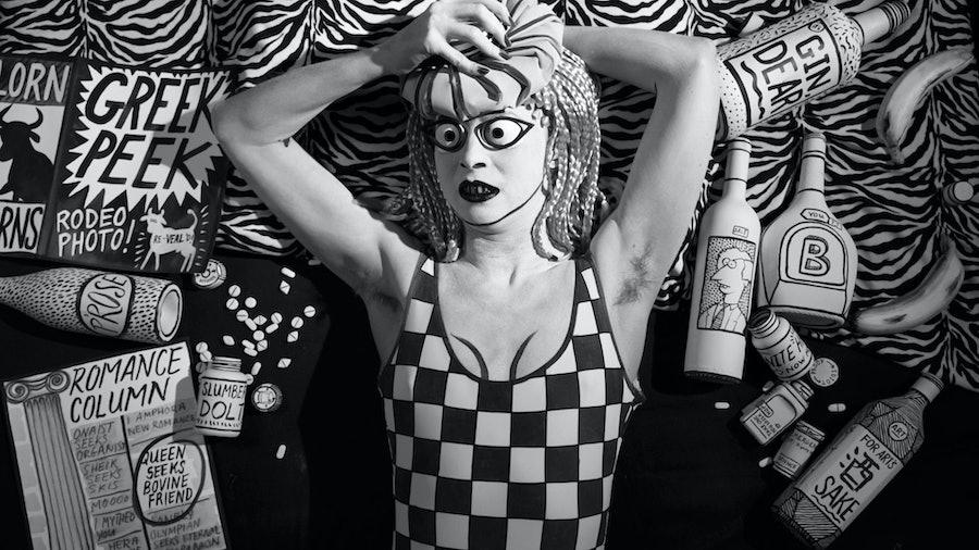 Still from Swinburne's Pasiphae (2014, HD video) by Mary Reid Kelley with Patrick Kelley