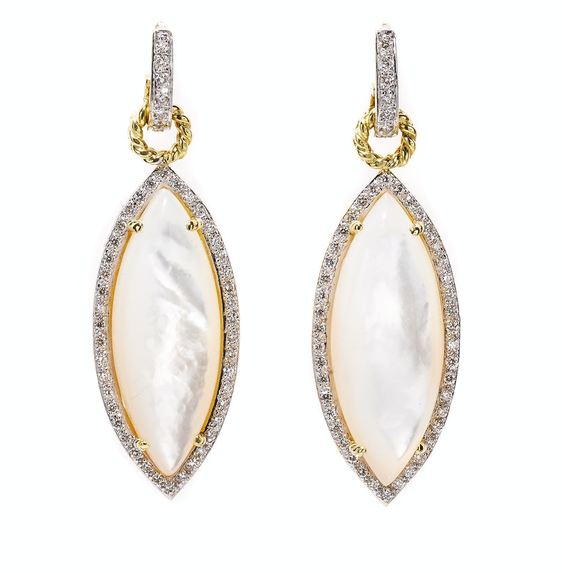 Cassis Jewels gold, mother-of-pearl, and diamond earrings