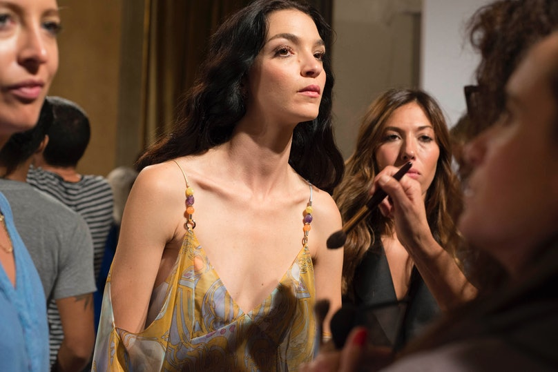 Backstage at Emilio Pucci Spring 2015