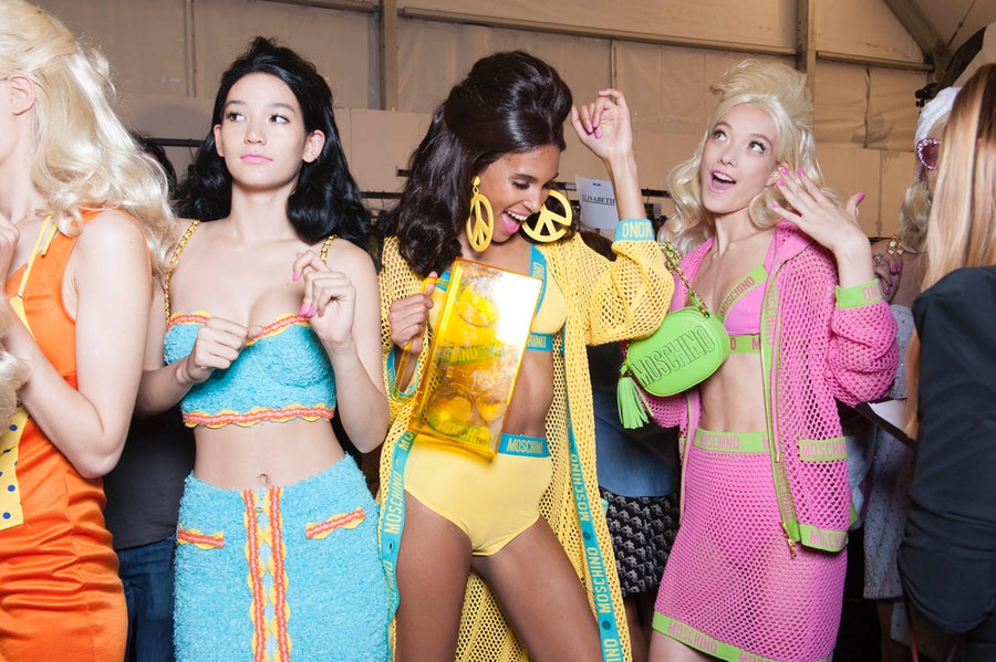 Backstage at Moschino Spring 2015