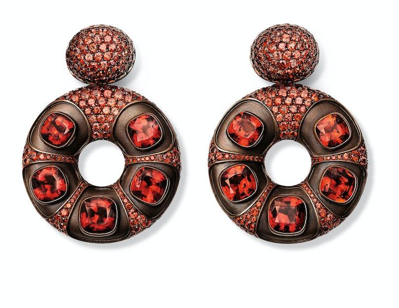 Hemmerle gold, copper, and garnet earrings