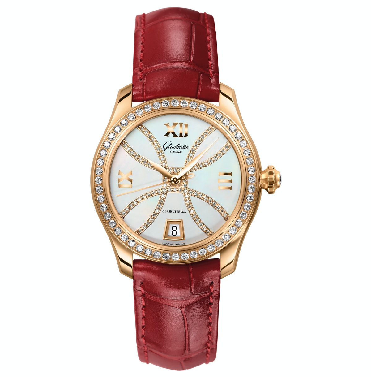 Glashütte Original gold, mother-of-pearl, and diamond watch