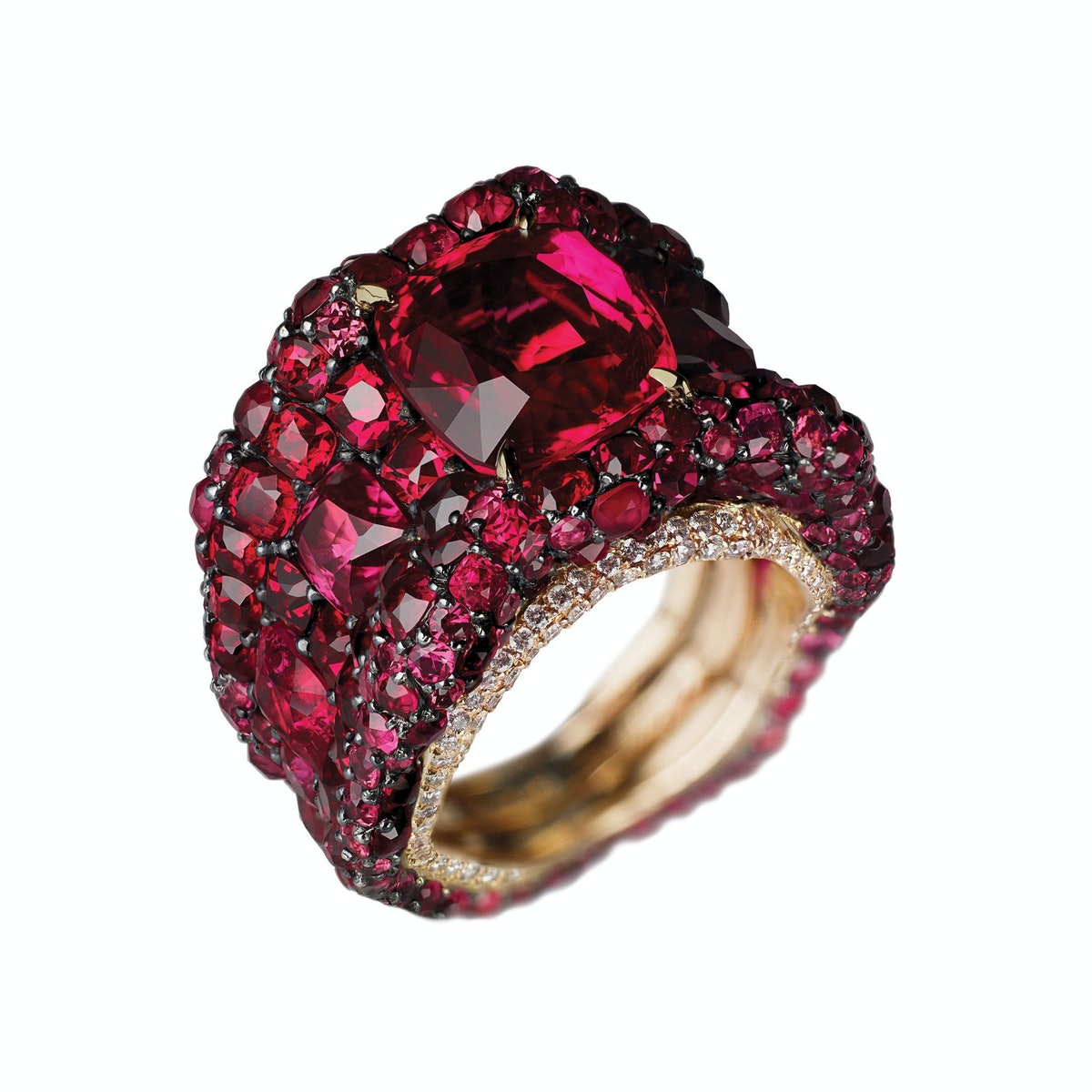 Fabergé gold, sterling silver, spinel, ruby, and diamond ring