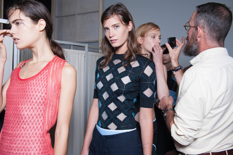 Backstage at Paco Rabanne Spring 2015