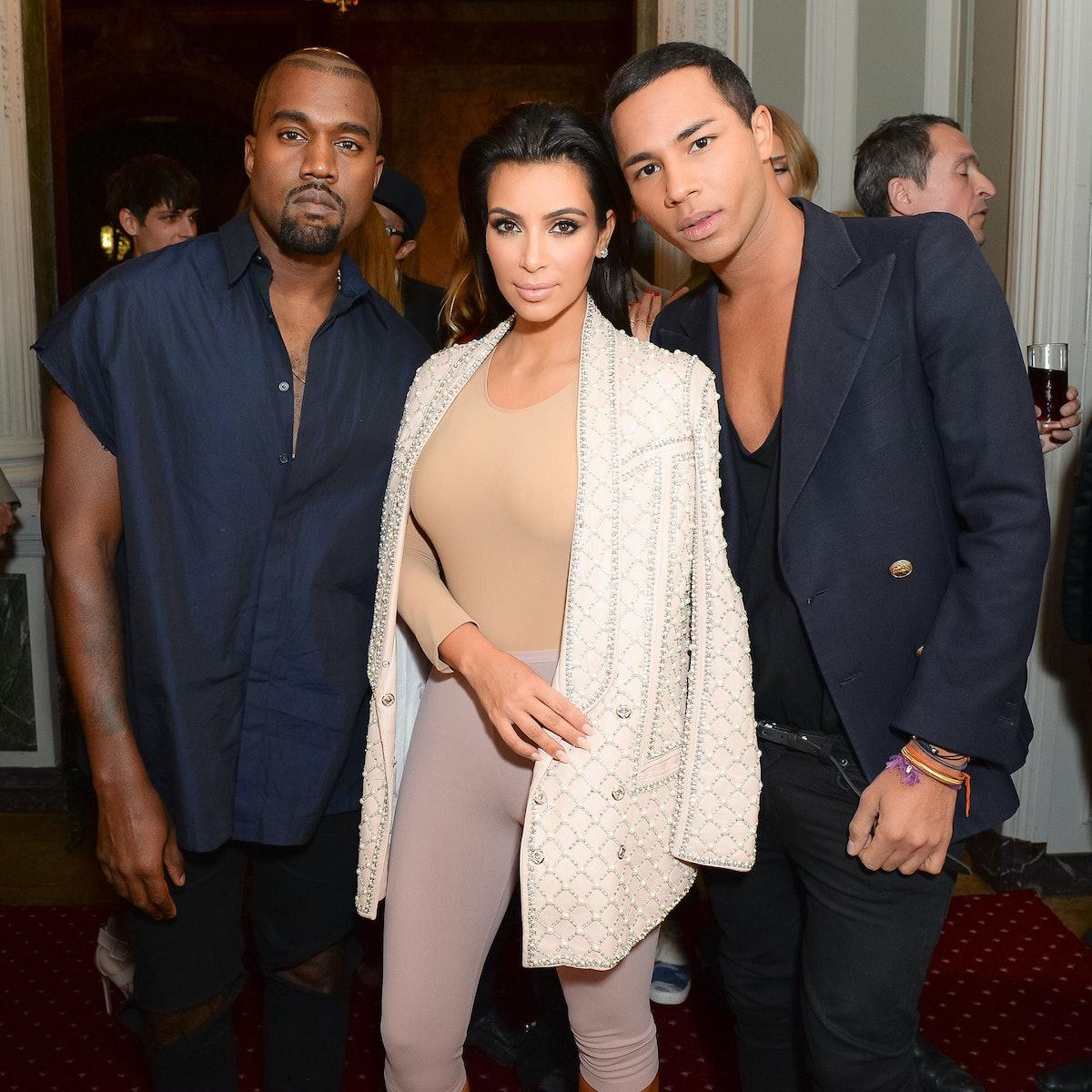 Kanye West, Kim Kardashian, and Olivier Rousteing