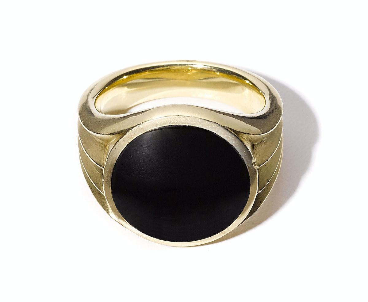 David Yurman gold and onyx ring