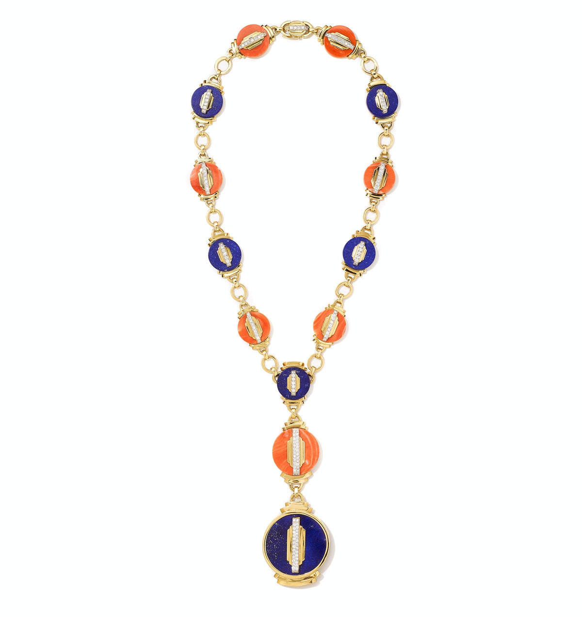 David Webb platinum, gold, coral, lapis, and diamond necklace