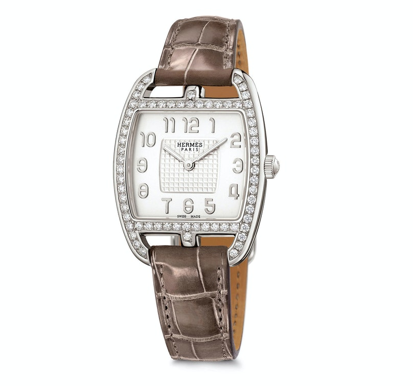 Hermes silver and diamond watch