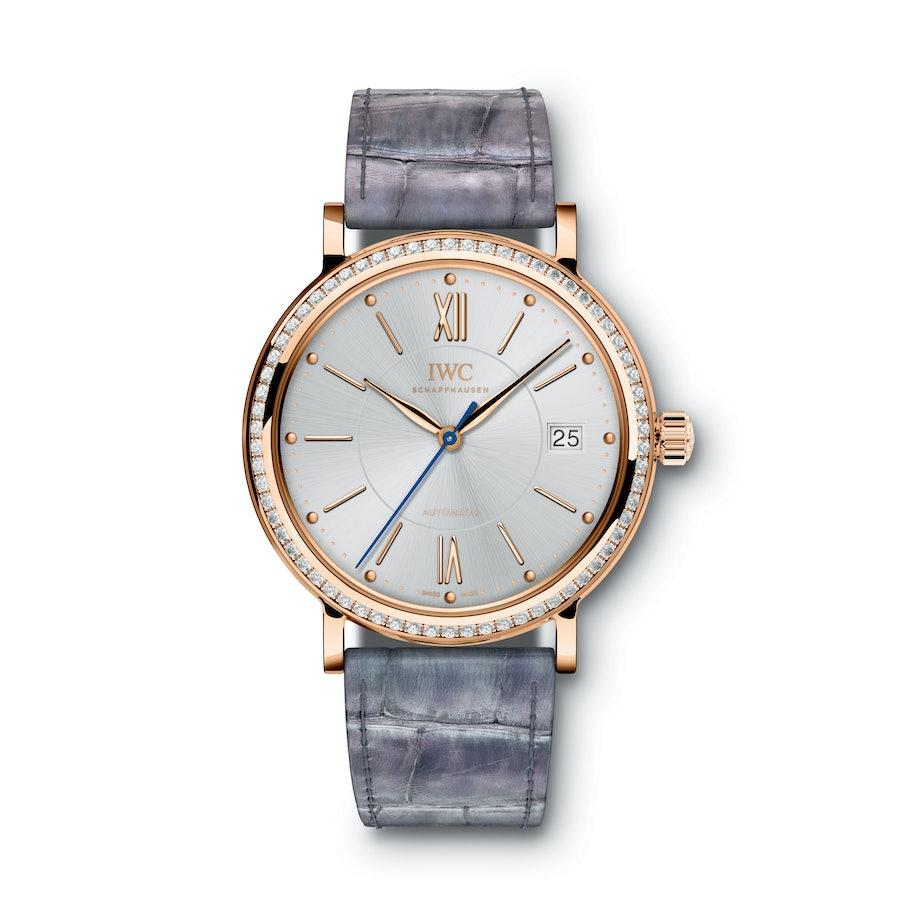 IWC Schaffhausen 18k red gold and diamond watch