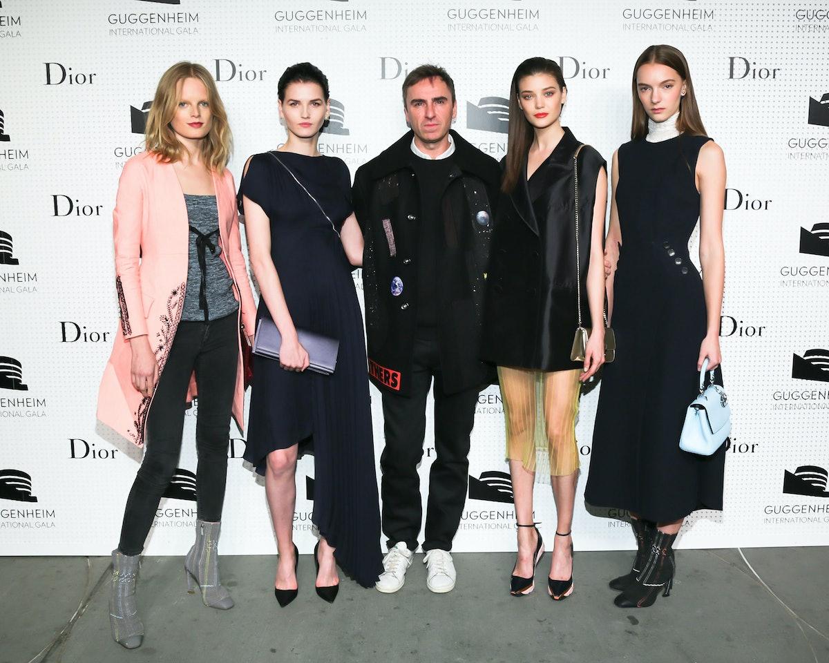 Hanne Gaby Odiele, Katlin Aas, Raf Simons, Diana Moldovan, and Irina Liss
