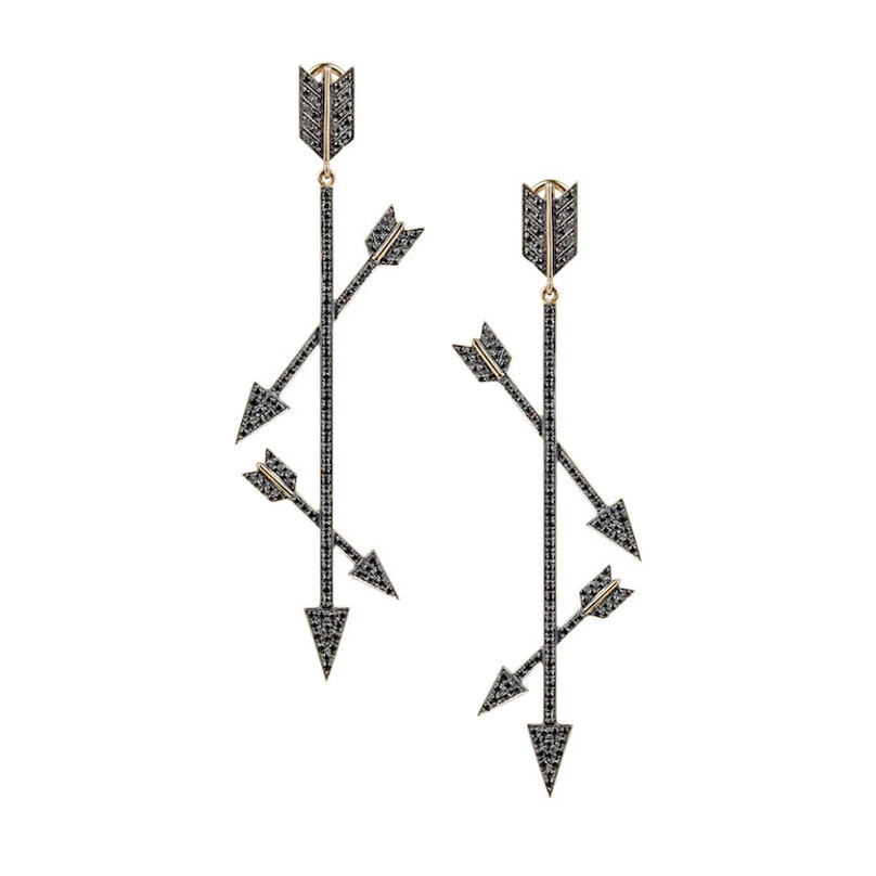 Elena Votsi 18k gold and black diamond earrings