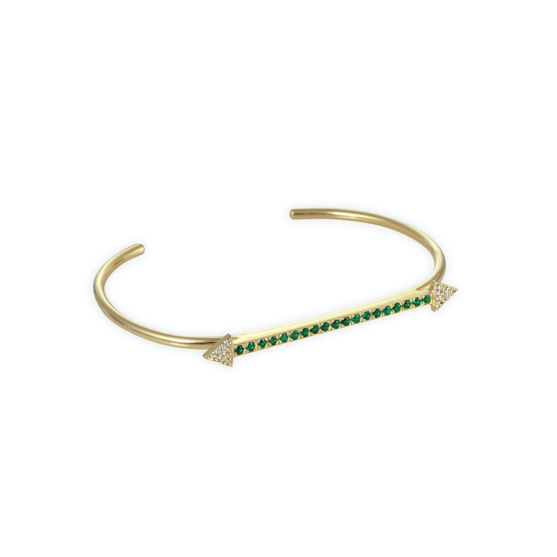 Jennifer Meyer 18k yellow gold and emerald arrow cuff with diamond accents