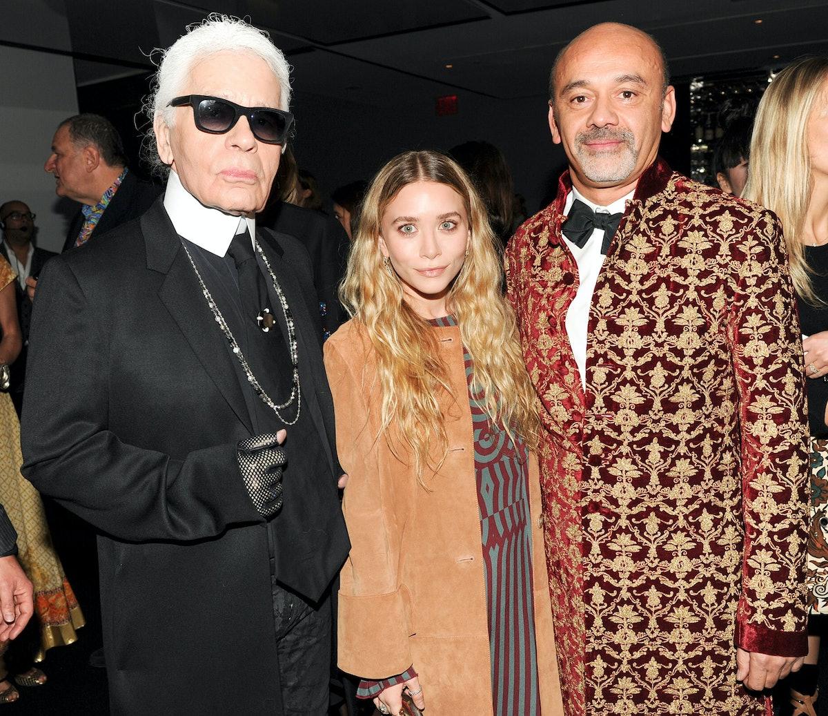 Karl Lagerfeld, Ashley Olsen, and Christian Louboutin