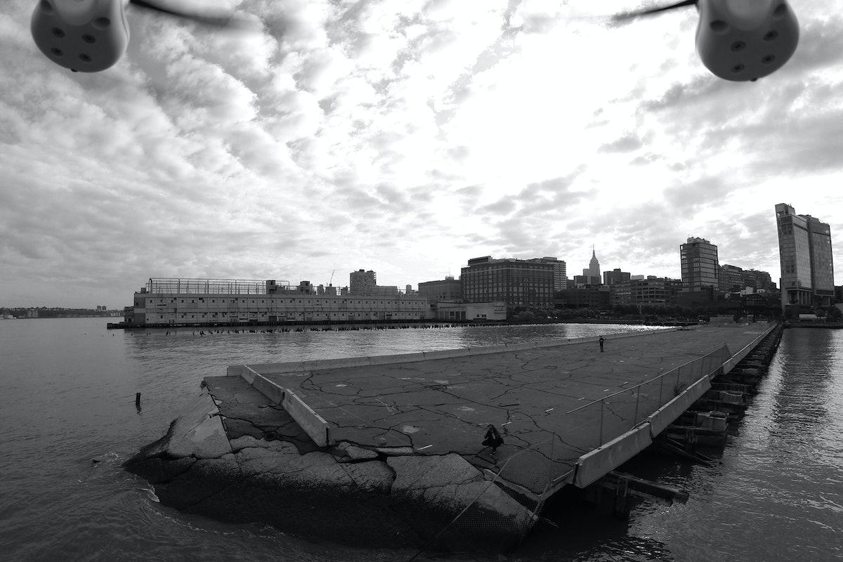 Pier 54: Liz Magic Laser, Directions for a photographer and a DJI Phantom Aerial UAV Drone Quadcopter, 2014