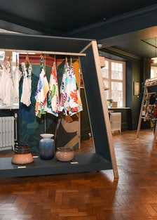 Collections by Karen Kilimnik (left) and designer April Crichtin and artist Nicholas Party (right); ...
