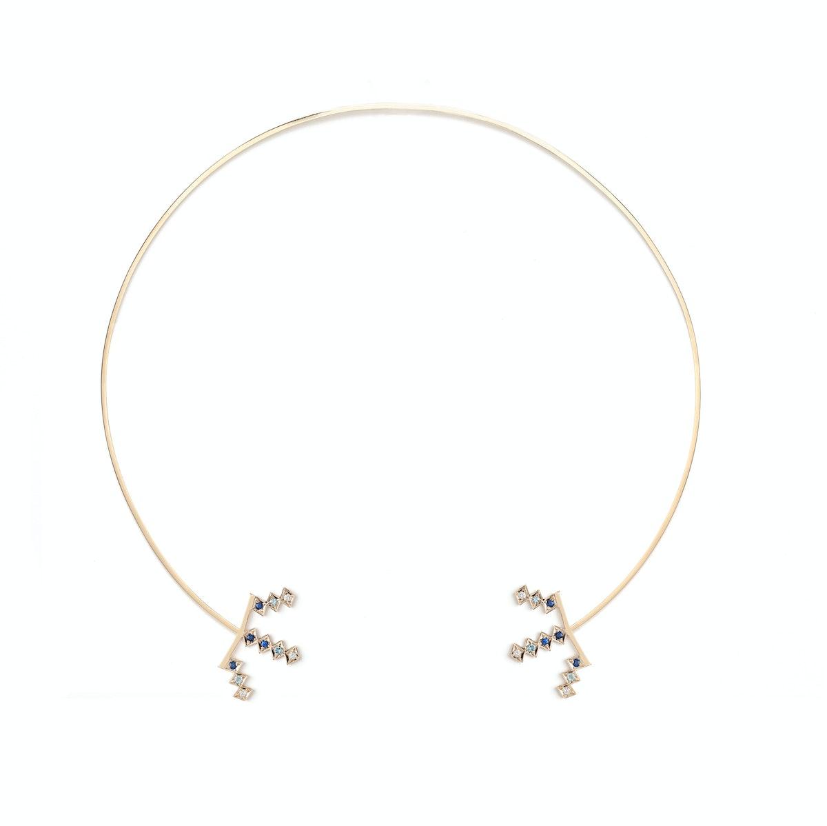 AZLEE 18k yellow gold, sapphire, and diamond collar necklace