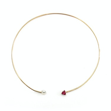 PHYNE by Paige Novick 14k yellow gold, pearl and pink tourmaline collar